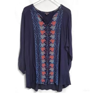Lucky Brand Blue Button Down Boho Top